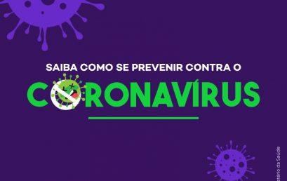 Recomendações gerais de prevenção ao novo Coronavírus (COVID-19)